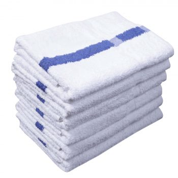 Blue center Stripe Pool Towels. - National Hotel Supplies Inc.